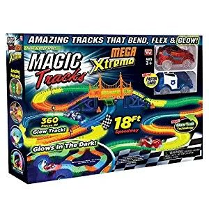 Ontel Magic Tracks Mega Xtreme With 2 Race Car And 18 Ft Of Flexible Bendable Glow In The Dark Race Track Glow In The Dark Car Tracks For Kids