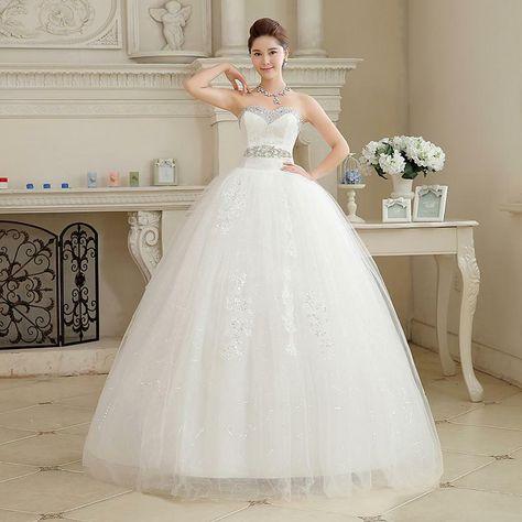 Custom Made V Neck 2016 New Arrival Korean Style White Princess Fashionable Lace Wedding Dress Tulle Wedding Dresses T203