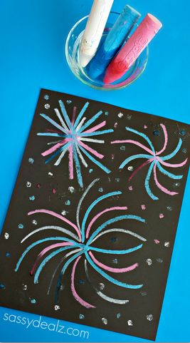 Wet Chalk Fireworks Craft for Kids - Fun 4th of July or Memorial Day art project! #Patriotic
