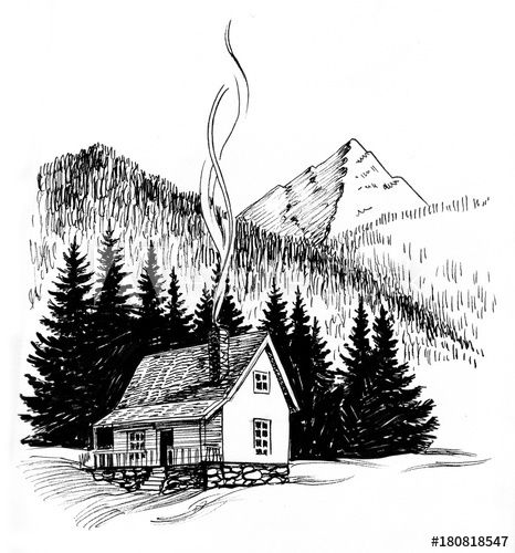 Cabin In The Mountains Black And White Ink Drawing Mountain Drawing Ink Illustrations Cabin Art