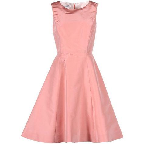 Oscar De La Renta Knee-length Dress ($507) ❤ liked on Polyvore featuring dresses, pink, red sleeveless dress, red dress, oscar de la renta dresses, pink dress and zipper dress