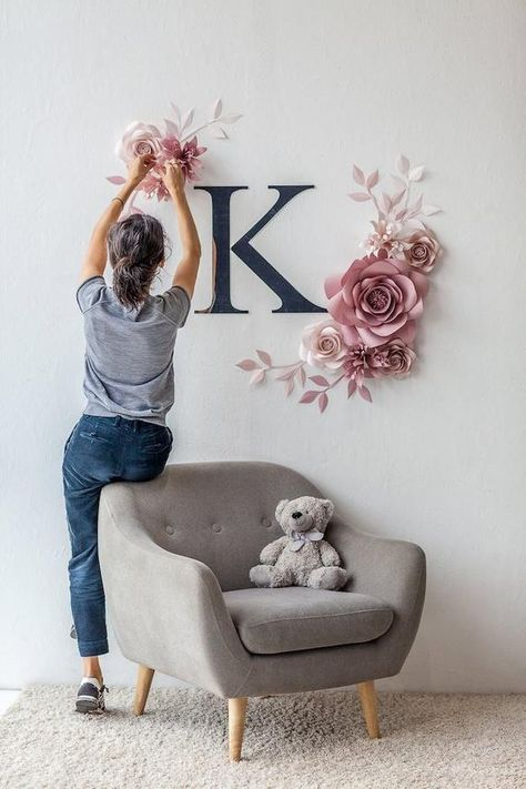 Personalized NurseryPaper Flower Set is a perfect addition to any baby room space and silver mirror plastic Initial Sign make this room so special. Use this paper flower set for weddings, room decor, desert table backdrop or birthday photo wall This Paper Flower Set stretches to around 52w X 52h