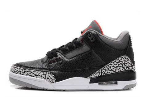 "Air Jordan 3 Retro ""Black Cement"" Black Varsity Red-Cement Grey ... 2f049b79e5"