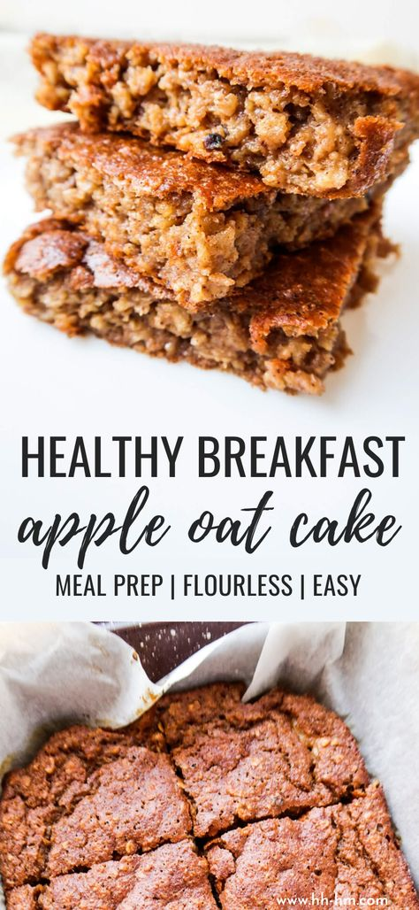 Healthy Breakfast Oatmeal Apple Cake (Flourless) - Her Highness, Hungry Me - - This healthy breakfast oatmeal apple cake is a tasty and easy meal prep recipe that you can make for the entire week. It's also great for dessert and is kid-friendly. Healthy Oatmeal Breakfast, Breakfast And Brunch, Vegetarian Breakfast Recipes, Breakfast Cake, Apple Breakfast, Oats Breakfast Recipes, Healthy Baked Oatmeal, Healthy Oatmeal Cake Recipe, Healthy Breakfast Meal Prep