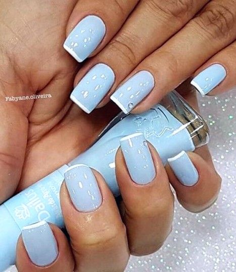 Baby Blue Nails So Lovely Square Acrylic Nails Short Acrylic Nails Manicure