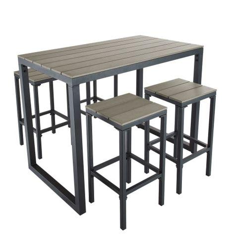 Table De Jardin Haute Avec 4 Tabourets L128 Table De Jardin