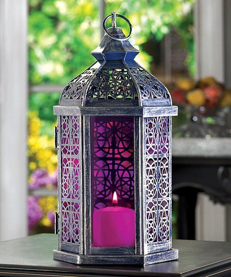 Enchanted Amethyst Pewter Finish Metal and Fuschia Glass Candle Lantern NEW