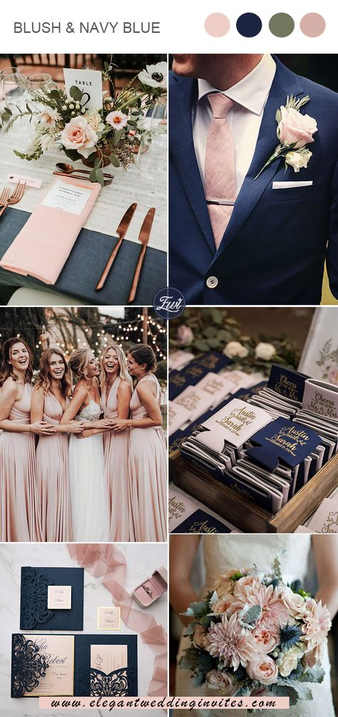 classic blush pink and navy blue chic vintage wedding colors classic blush pink and navy blue chic vintage wedding colors Elegant Wedding Colors, Blush Wedding Colors, Vintage Wedding Colors, Blue And Blush Wedding, Blush Pink Weddings, Cute Wedding Ideas, Wedding Color Schemes, Wedding Inspiration, Pink Wedding Theme