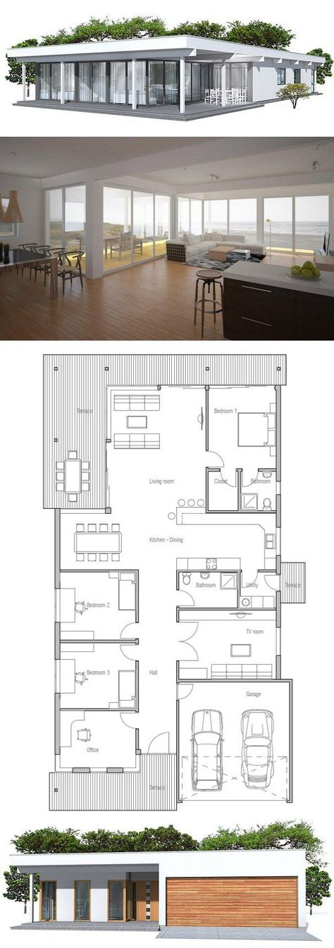 192 best Maison mobreduite images on Pinterest Modern homes - prix extension maison 30m2
