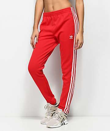 adidas 3 Stripe Red Track Pants in 2019 | Red adidas pants ...