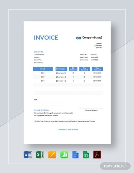 Delivery Invoice Template Free Pdf Word Excel Apple Pages Google Docs Google Sheets Apple Numbers Invoice Template Words Invoicing