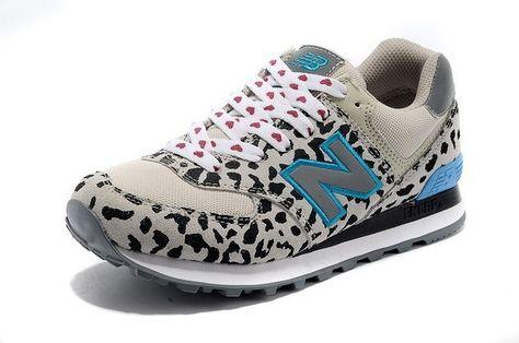 newest c7138 244d9 Soldes New Balance 574 Femme New Balance 574 leopard Blanche Baskets  Livraison Gratuite