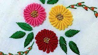 Hand Embroidery: Raised fishbone stitch variation | Cantinho