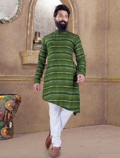 Green Printed Pattern Kurta Suit Mens Kurta Designs Kurta Patterns Kurta Men