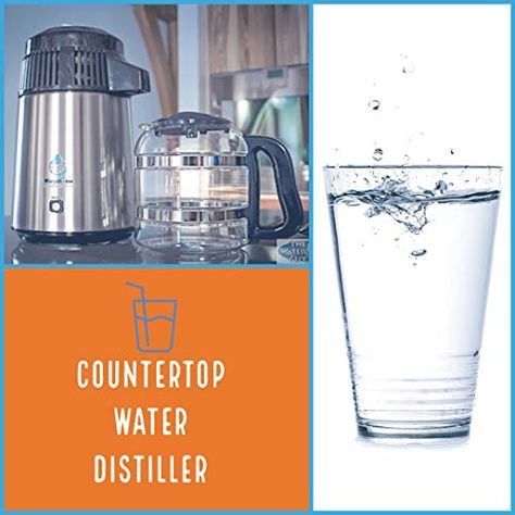 Countertop Water Distiller Stainless Steel Black With Glass Carafe