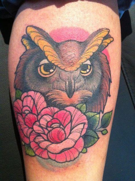 owl tattoo done by annie frenzel. Line work, perfection.
