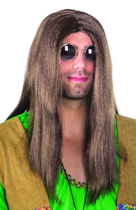 perücke hippie john, lange, glatte haare, braun (with