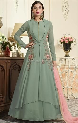 Beckoning Green Full Length Jacket Style Indo Western Dress in 2019