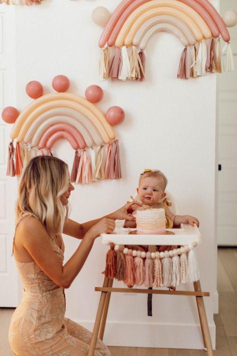 Cove's 1st Birthday – Aspyn Ovard Rainbow First Birthday, 1st Birthday Party For Girls, Baby Birthday, One Year Birthday, Kids Birthday Themes, Birthday Decorations, 1st Birthday Photoshoot, 1st Birthdays, Baby Shower