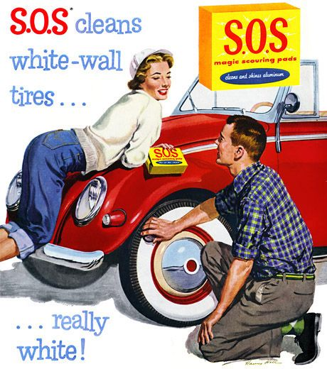 sos scouring pads vintage ad cleaning the whitewall tires on a red