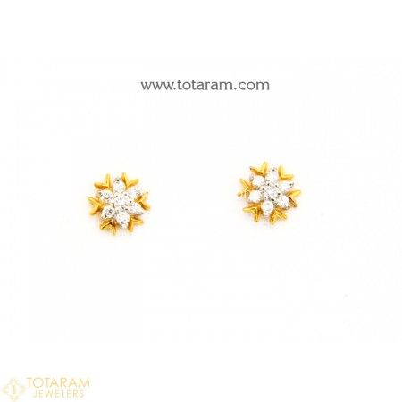 18k Gold Diamond Earrings For Baby 235 Der1159 This Latest Indian Jewelry Design In 1 150 Grams A Low Price Of 262 99
