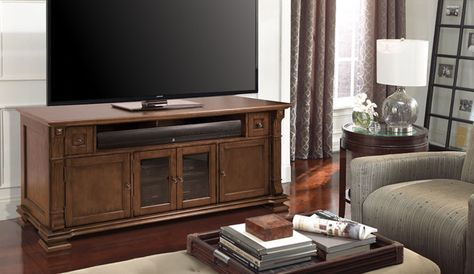 T His Traditional Home Entertainment Wood Cabinet Tv Stand Features A Combination Of And Dark Tinted Tempered Safety Gl Panel Doors