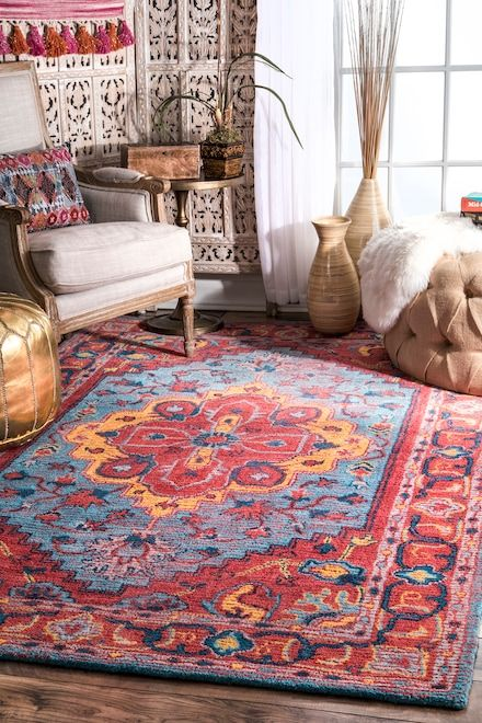 Albery Streaky Florid Medallion Red Rug Rugs Usa Area Rugs Medallion Rug