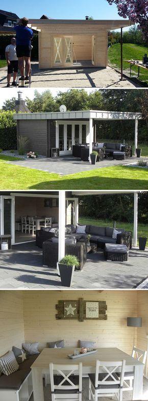 Ein Gartenhaus Als Partyhaus Mit Ganz Besonderem Dach Gartenhaus Mit Terrasse Gartenhaus Balkonentwurf