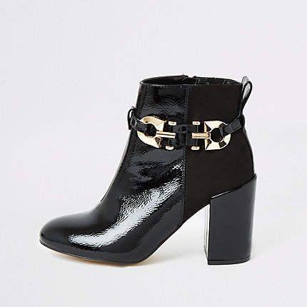 River Island Black patent buckle heeled