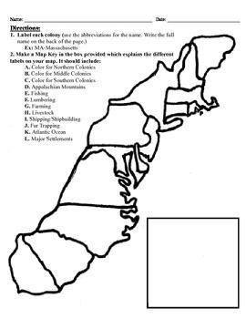13 Colonies Map Project 8 5x11 13 Colonies Map 13 Colonies