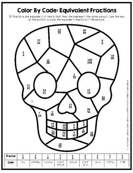 Skull Color By Number Equivalent Fractions Equivalent