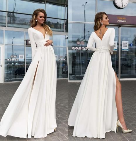 Abendkleider Elfenbein Kleider Langarm Lange Party Prom Satin Side Split Vausschnitt Long Sleeve Ivory Satin P In 2020 Hochzeitskleid Kleider Hochzeit Braut