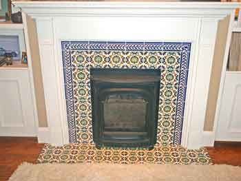 fireplace tile mexican style