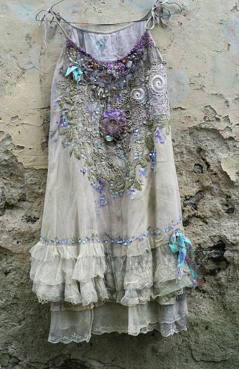 April muse----romantic embroidered and beaded top/tunic, antique and vintage laces, shabby chic,  textile art collage