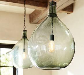 Flynn Oversized Recycled Glass Pendant Pottery Barn Glass Pendant Light Glass Lighting Glass Globe Chandelier Recycled glass pendant light
