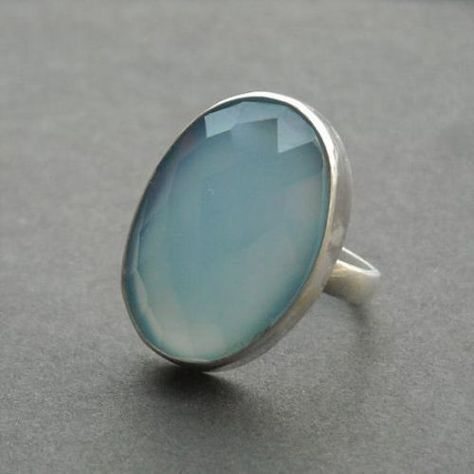Blue chalcedony ring, Oval gemstone ring, Handmade ring, sterling silver ring - Size Other sizes also available