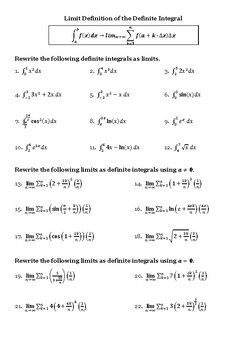 Limit Definition Of Definite Integral Worksheet Calculus Editable Calculus Ap Exams Definitions