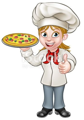 Cartoon female woman chef cook character holding a pizza and ...