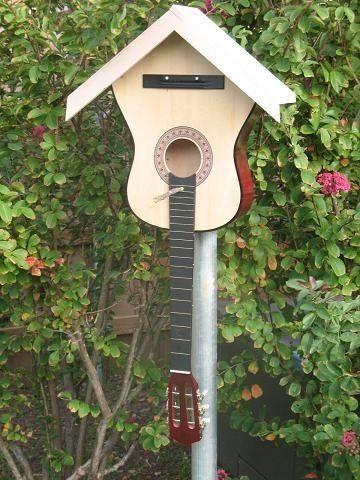 Turning A Cheap Guitar Into Mosaic Art Modern Design In 2020 Guitar Crafts Mosaic Art Bird House