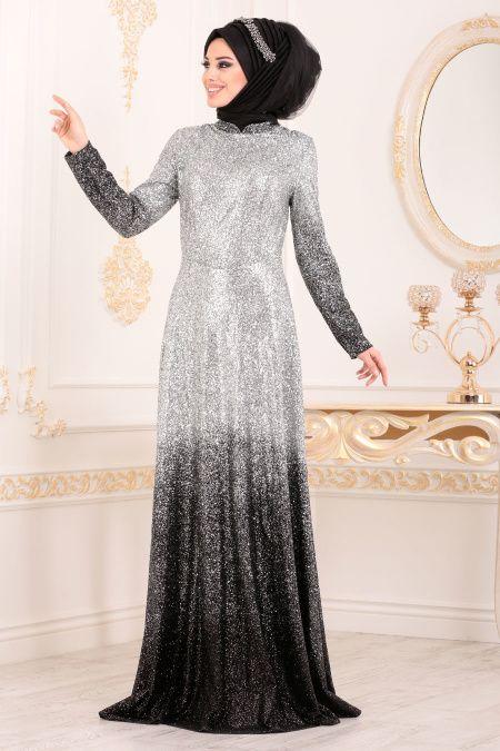 Tesetturlu Abiye Elbiseler Tesetturlu Abiye Elbise Simli Siyah Tesettur Abiye Elbise 8508s The Dress Aksamustu Giysileri Ve Indigo