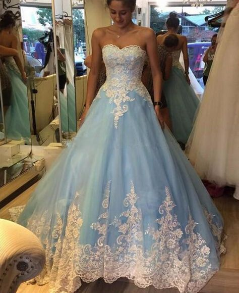 2016 New Cheap Quinceanera Dresses Sweetheart White Lace Appliques Light Blue Tulle,Sweet 15 Long Formal Pageant Party Dress Prom Gowns