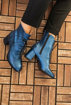dimensiunea 40 ajunge ieftin îmbrăcăminte sport de performanță Botine nuanta albastru sidefat din piele naturala Valerie | Boots, Ankle  boot, Shoes