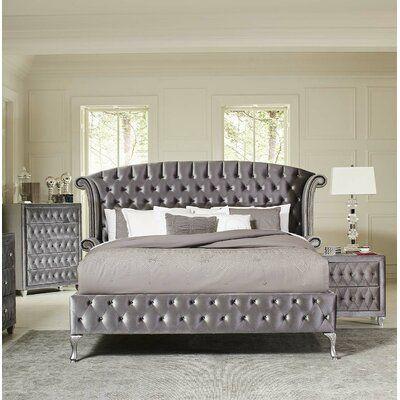 House Of Hampton Burlingame Upholstered Platform Bed Colour Grey