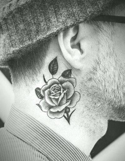 Mens Rose Flower Kuhlen Schattierten Kleinen Hals Tattoo Tattoos Flower Hals Kleinen Kuhle Rose Neck Tattoo Small Neck Tattoos Neck Tattoo For Guys
