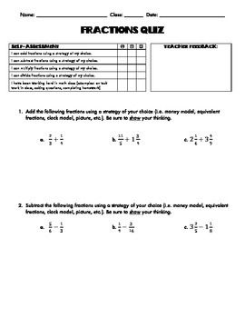 Fractions Quiz: Adding, Subtracting, Multiplying, Dividing with Self