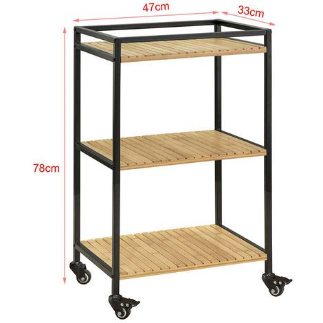 Sobuy 3 Tiers Metal Bamboo Drinks Serving Trolley Kitchen Shelf Fkw65 N Roulette Pour Meuble Meuble Rangement Chariot Cuisine