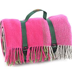 Tweedmill Polo Pure New Wool Picnic Rug With Fringe Webb Straps Block Check Pink Green Grey