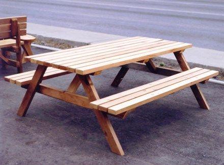 Table De Picnic En Bois Traite Outdoor Tables Table Outdoor Decor
