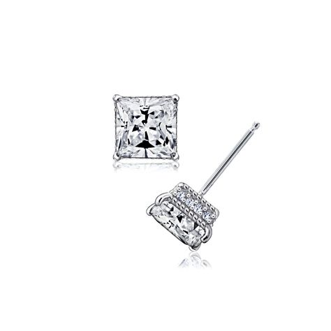 Available In Cher Cut Princess Or Round Brilliant Varying Sizes Sterling Silver Rhodium Plated 2 Ct 1ct Tcw Stud With Unique Pave