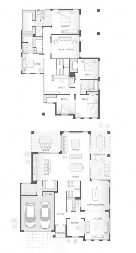 5 Bedrooms 3 5 Bathrooms 2 Car Garage Multiple Living And Entertaining Spaces Both Upstairs An Home Design Floor Plans Large Family House Plan House Plans